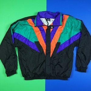 Jackets & Coats - 80s Vintage Colorful Colorblock Windbreaker Jacket